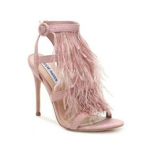 Steve Madden FEFE Pink Feather Sandal Heel NEW